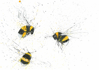 Clare Brownlow Greetings Card - 3 Bumble Bees