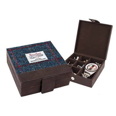 Harris Tweed Allasdale Cufflink Box - Navy