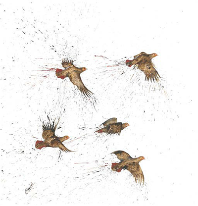 Clare Brownlow Greetings Card - Covey of Partridge