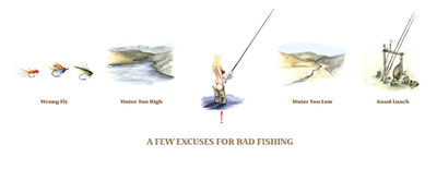Clare Brownlow Greetings Card - Excuses For Bad Fishing