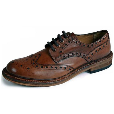 Catesby Leather Brogues With Leather Sole - Rich Brown