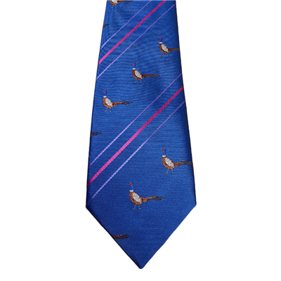 Taylors Ties Pheasant & Stripe Tie - Electric Blue