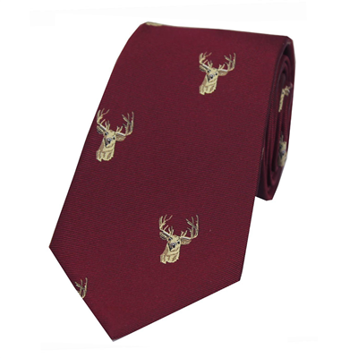 Soprano Stags Head Silk Tie - Wine