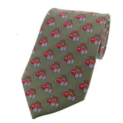 Soprano Red Tractor Silk Tie - Country Green